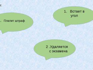 2 .Удаляется с экзамена 1. Встает в угол 3. Платит штраф 3 вопрос