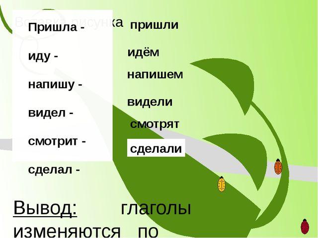 Вывод: глаголы изменяются по числам Пришла - иду - напишу - видел - смотрит -...