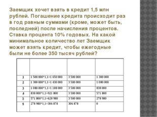 Заемщик хочет взять в кредит 1,5 млн рублей. Погашение кредита происходит раз