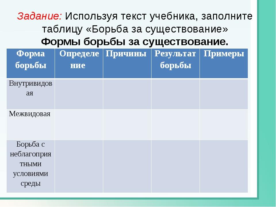 Задание: Используя текст учебника, заполните таблицу «Борьба за существование...