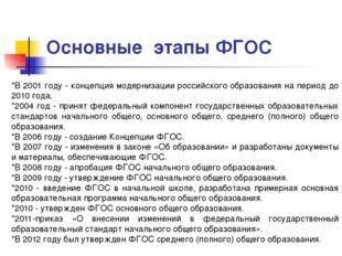 Основные этапы ФГОС *В 2001 году - концепция модернизации российского образо