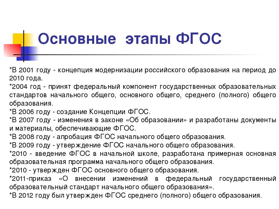 Основные этапы ФГОС *В 2001 году - концепция модернизации российского образо...