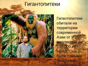 Гигантопитеки Гигантопитеки обитали на территории современной Азии от 9 милли