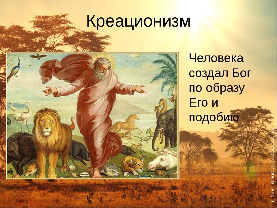 Креационизм Человека создал Бог по образу Его и подобию