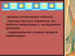 - влияние исторических событий; - языковые функции диалектов, как средств ком