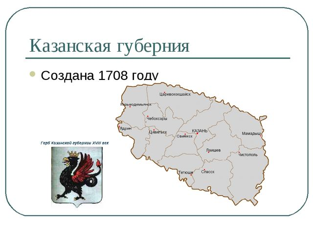 Казанская губерния Создана 1708 году