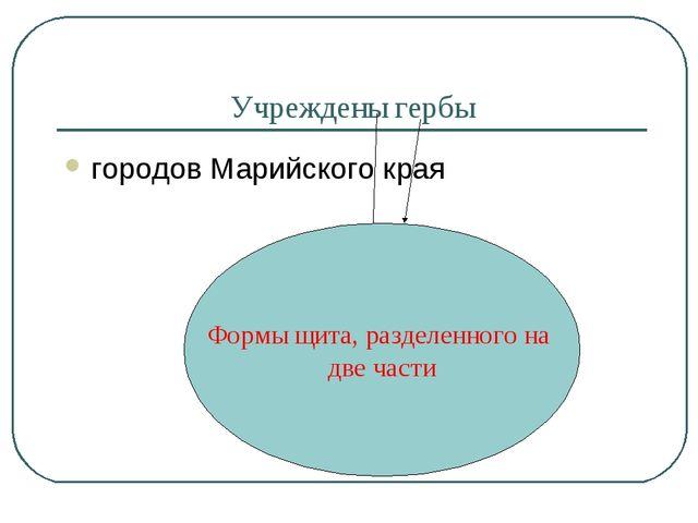 Учреждены гербы городов Марийского края Формы щита, разделенного на две части