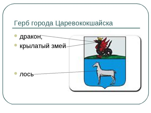 Герб города Царевококшайска дракон, крылатый змей лось