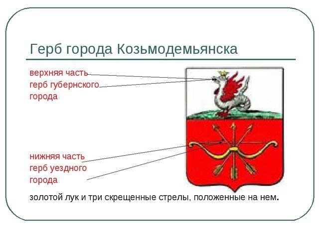 Герб города Козьмодемьянска верхняя часть герб губернского города нижняя част...