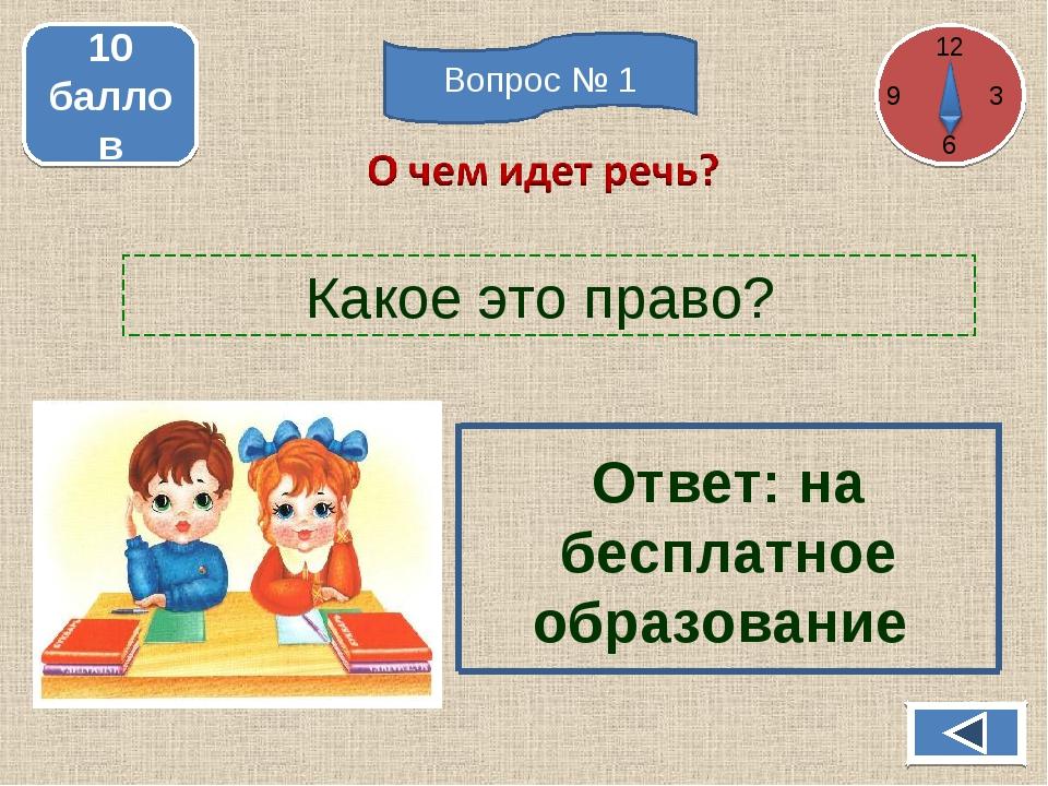 Какое это право? 10 баллов Ответ: на бесплатное образование 12 3 6 Вопрос № 1