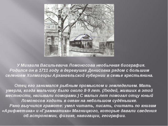 У Михаила Васильевича Ломоносова необычная биография. Родился он в 1711 году...