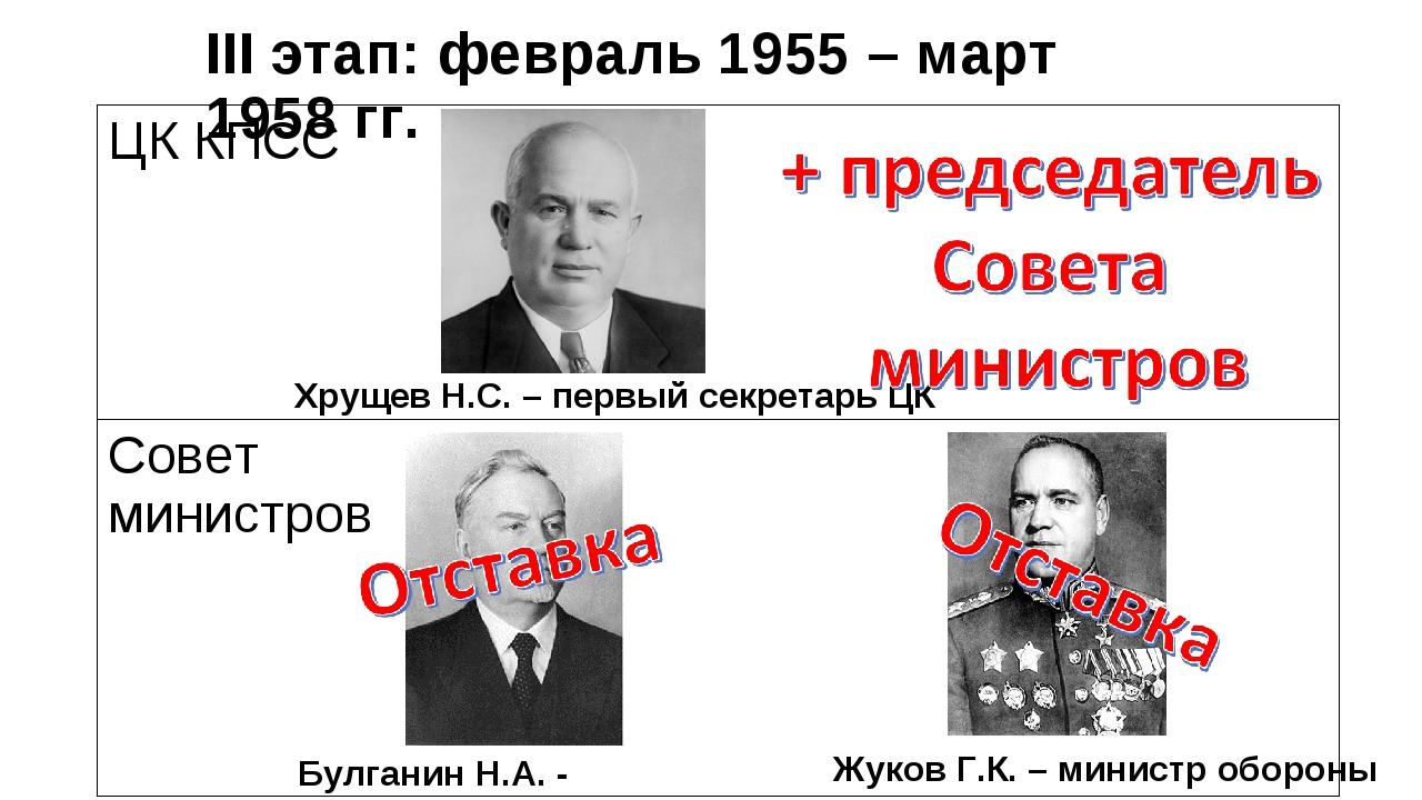 III этап: февраль 1955 – март 1958 гг. Хрущев Н.С. – первый секретарь ЦК Жуко...