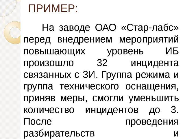 ПРИМЕР: На заводе ОАО «Стар-лабс» перед внедрением мероприятий повышающих у...