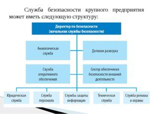 Служба безопасности крупного предприятия может иметь следующую структуру: