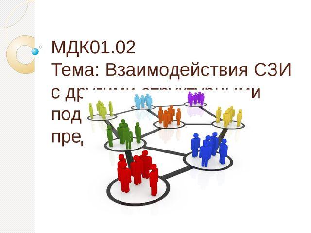 МДК01.02 Тема: Взаимодействия СЗИ с другими структурными подразделениями пред...