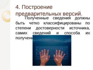 4. Построение предварительных версий. Полученные сведения должны быть четко