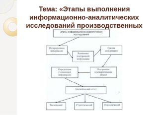 Тема: «Этапы выполнения информационно-аналитических исследований производстве