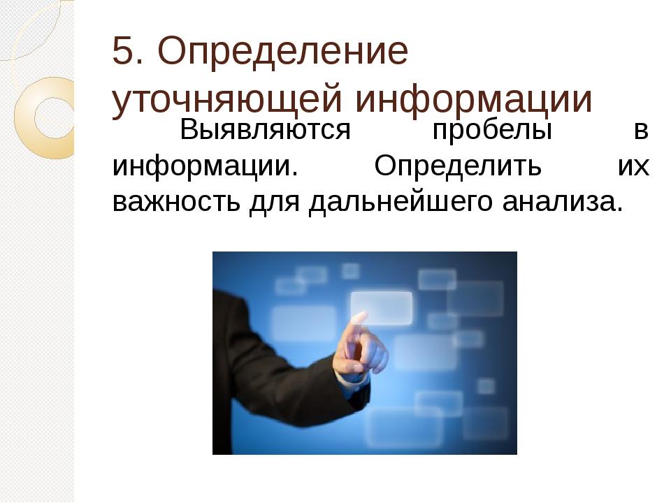 5. Определение уточняющей информации Выявляются пробелы в информации. Опред...