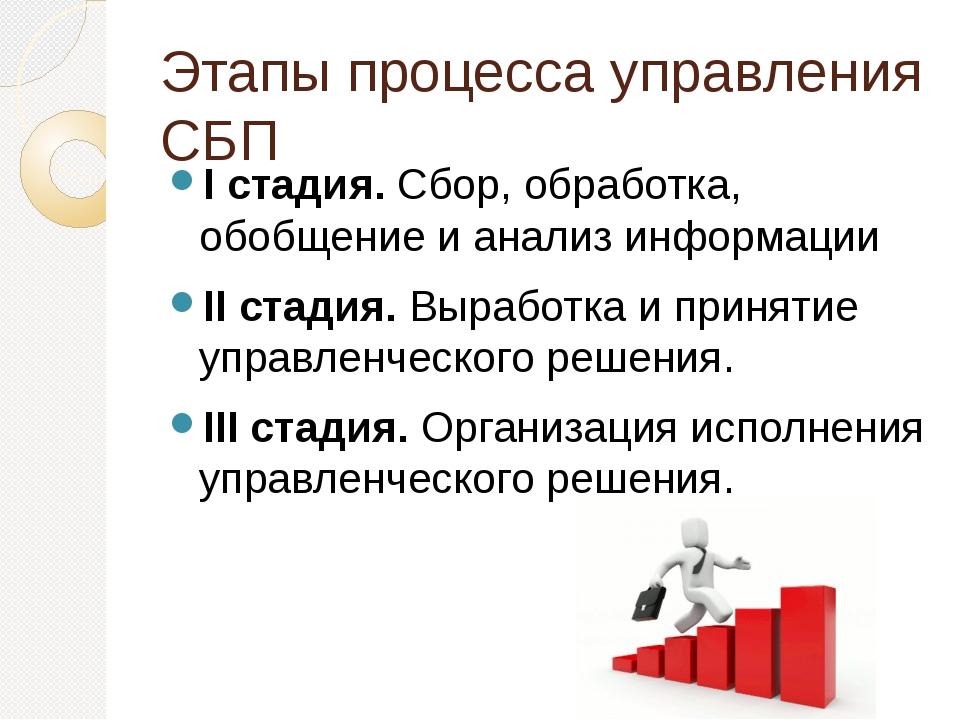 Этапы процесса управления СБП I стадия. Сбор, обработка, обобщение и анализ и...