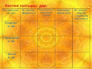 Кестені толтырыңдар: Механикалық жұмысЖұмыстың формуласыМеханикалық энергия