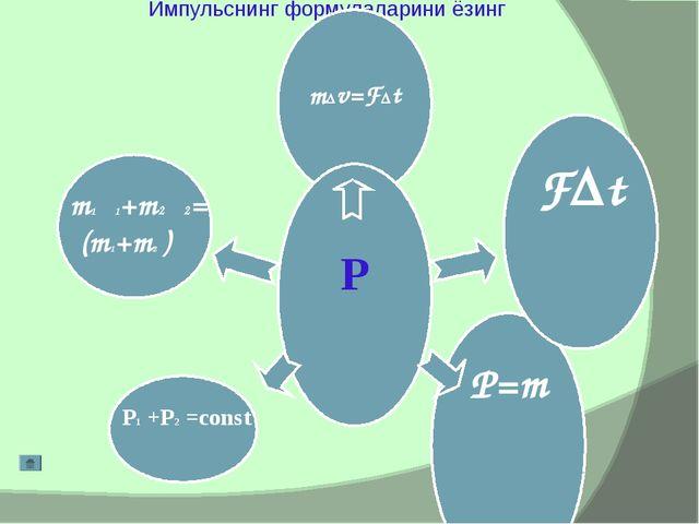 Импульснинг формулаларини ёзинг m∆v=F∆t P P=mυ F∆t m1υ1+m2υ2= (m1+m2 ) υ P1 +...