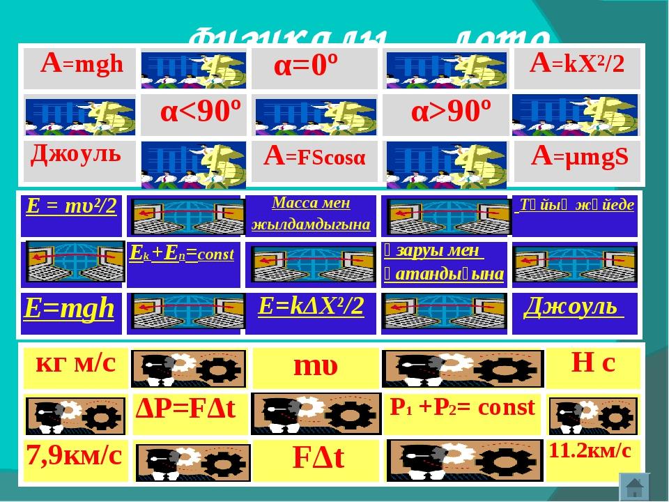 Физикалық лото A=mgh α=0ºA=kX²/2  α90º Джоуль A=FScosα A=μmgS E =...