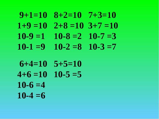 9+1=10 8+2=10 7+3=10 1+9 =10 2+8 =10 3+7 =10 10-9 =1 10-8 =2 10-7 =3 10-1 =9...