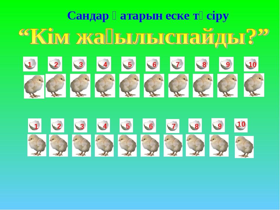 1 2 3 4 5 6 7 8 9 10 1 2 3 4 5 6 7 8 9 10 Сандар қатарын еске түсіру
