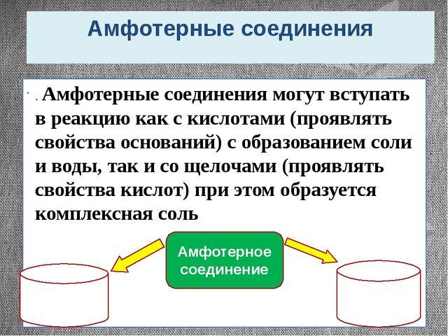 Амфотерные соединения . Амфотерные соединения могут вступать в реакцию как с...