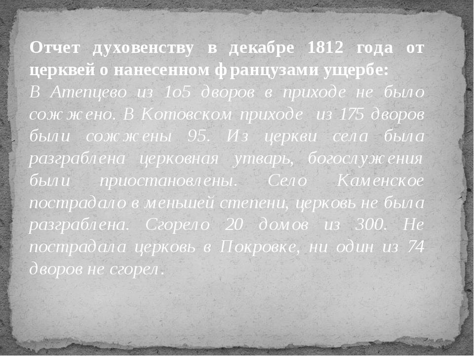 Отчет духовенству в декабре 1812 года от церквей о нанесенном французами ущер...