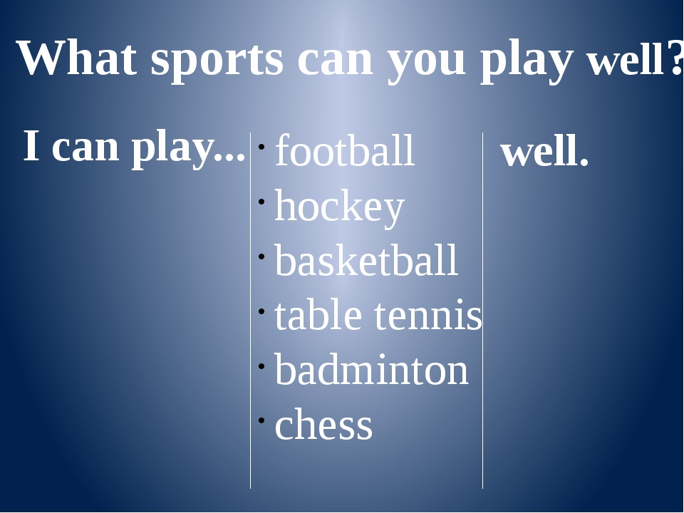 What sports can you play well? I can play... football hockey basketball table...