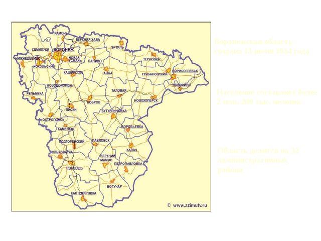 Воронежская область создана 13 июня 1934 года Население составляет более 2 мл...
