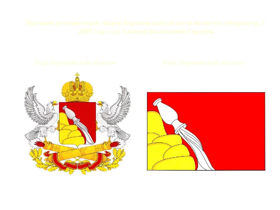 Высшим должностным лицом Воронежской области является губернатор. С 2009 года...