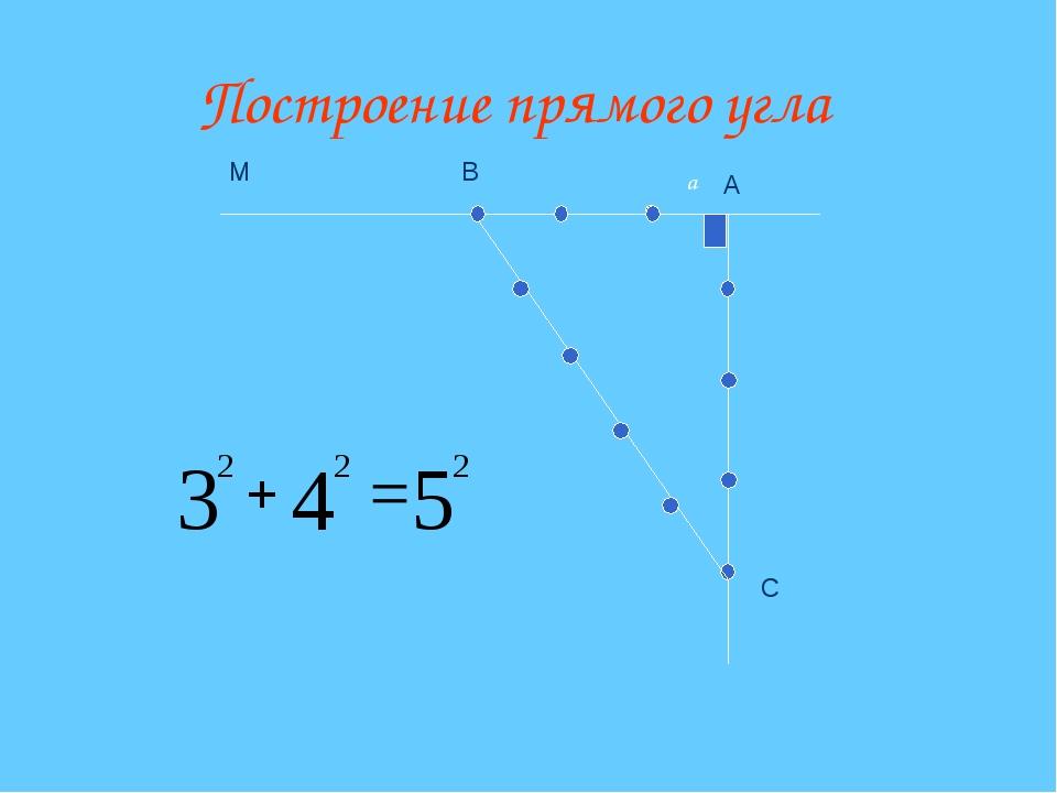 Построение прямого угла А С В М a