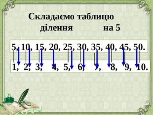 Складаємо таблицю ділення на 5 5, 10, 15, 20, 25, 30, 35, 40, 45, 50. 1, 2,