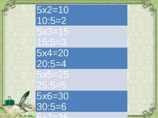 5х2=10 10:5=2 5х3=1515:5=3 5х4=20 20:5=4 5х5=25 25:5=5 5х6=30 30:5=6 5х7=35 3