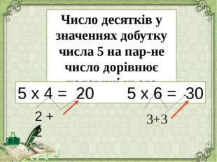 Число десятків у значеннях добутку числа 5 на парне число дорівнює половині