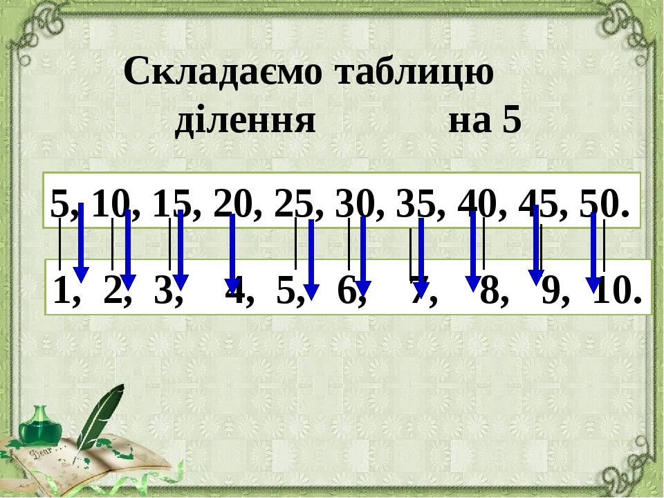 Складаємо таблицю ділення на 5 5, 10, 15, 20, 25, 30, 35, 40, 45, 50. 1, 2,...