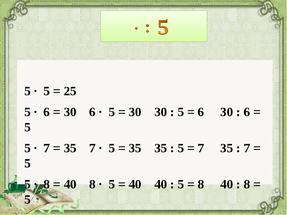 5 · 5 = 25 5 · 6 = 30 6 · 5 = 30 30 : 5 = 6 30 : 6 = 5 5 · 7 = 35 7 · 5 = 35...