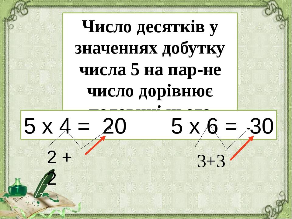 Число десятків у значеннях добутку числа 5 на парне число дорівнює половині...