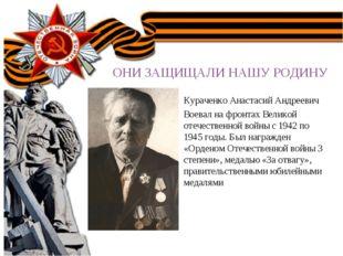 ОНИ ЗАЩИЩАЛИ НАШУ РОДОНИИНУ ОНИ ЗАЩИЩАЛИ НАШУ РОДИНУ Кураченко Анастасий Андр