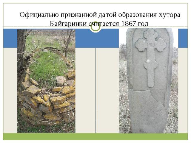 Официально признанной датой образования хутора Байгаринки считается 1867 год
