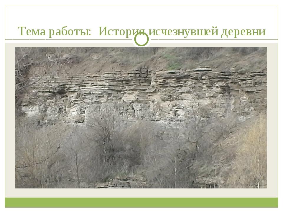 Тема работы: История исчезнувшей деревни