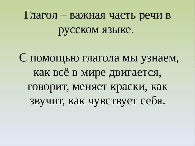 Глагол – важная часть речи в русском языке. С помощью глагола мы узнаем, как...