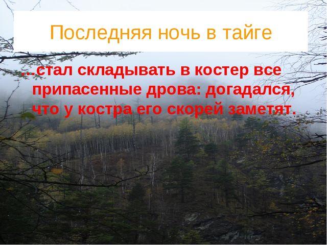 Последняя ночь в тайге …стал складывать в костер все припасенные дрова: догад...