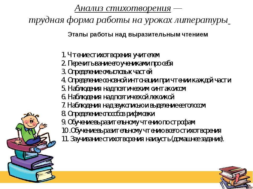 Анализ стихотворения — трудная форма работы на уроках литературы 1. Чтение ст...