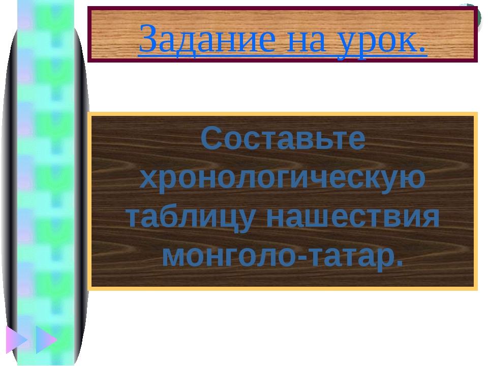 Задание на урок. Составьте хронологическую таблицу нашествия монголо-татар. М...