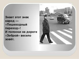 Знает этот знак народ — «Пешеходный переход»! И полоски на дороге «Зеброй» в