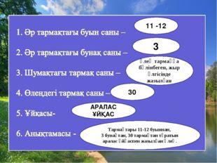 11 -12 3 өлең тармаққа бөлінбеген, жыр үлгісінде жазылған 30 Тармақтары 11-12