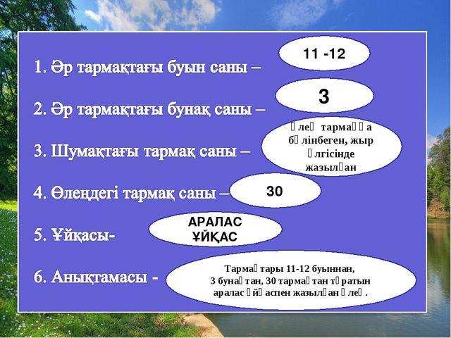 11 -12 3 өлең тармаққа бөлінбеген, жыр үлгісінде жазылған 30 Тармақтары 11-12...
